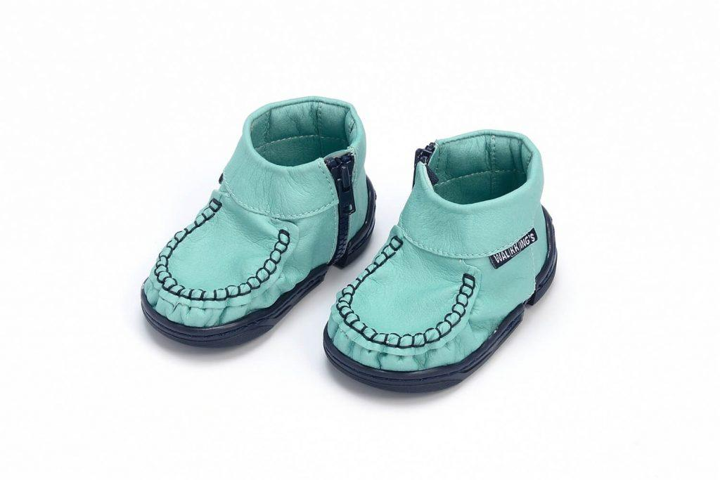 Walkkings-Zip-Around-Baby-Kids-Todder-First-Step-Shoes-Aqua-Blue-Side-compressed-tiny